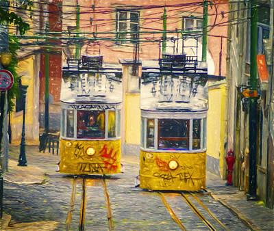 Funicular Photograph - Gloria Funicular Lisbon II by Joan Carroll