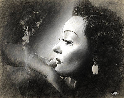Gloria Drawing - Gloria Swanson Sketch by Quim Abella