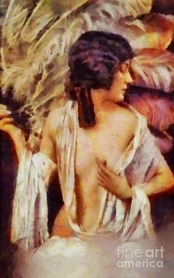 Flappers Painting - Gloria Swanson, Vintage Hollywood Actress by Sarah Kirk