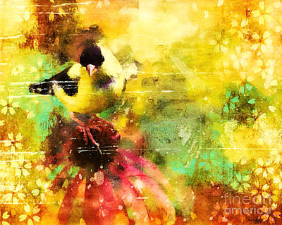 Digital Art - Glorious Goldfinch by Tina LeCour