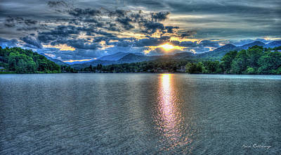 Glorious Lake Junaluska Sunset Blue Ridge Mountains North Carolina Art Print by Reid Callaway