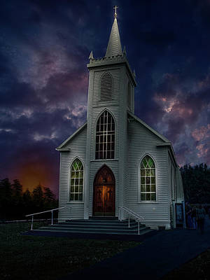 Photograph - Glorious Night Church by Judy Johnson