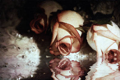 Mixed Media - Glorious Nights Roses by Georgiana Romanovna