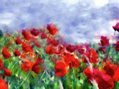 Mixed Media - Glorious Poppy Field by Georgiana Romanovna