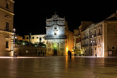 Photograph - Glossy Outdoor Living Room - St Lucy Church On Piazza Del Duomo In Syracuse Sicily by Georgia Mizuleva