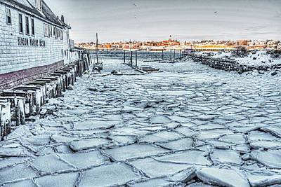 Photograph - Gloucester Beacon Marine Basin Encased In Ice Gloucester Harbor by Toby McGuire