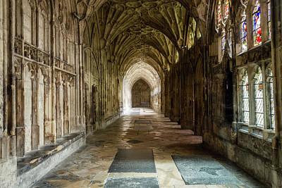Ceiling Photograph - Gloucester Cathedral Inside - Cloisers B by Jacek Wojnarowski