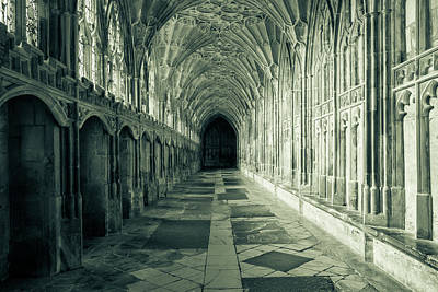 Photograph - Gloucester Cathedral Inside - Cloisers, Black And White Photography by Jacek Wojnarowski
