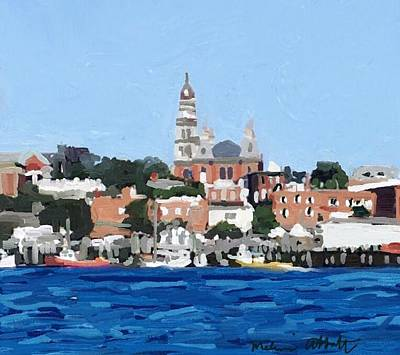 Gloucester City Hall From Inner Harbor Art Print