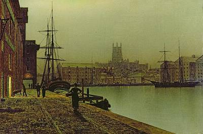 Gloucester Painting - Gloucester Docks by John Atkinson Grimshaw
