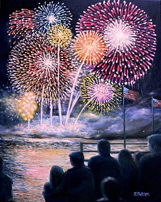 4th July Painting - Gloucester Fireworks  by Eileen Patten Oliver