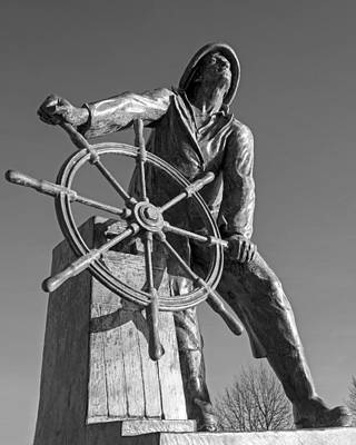 Gloucester Fisherman's Memorial Statue Black And White Art Print