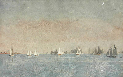 Sailboat Ocean Painting - Gloucester Harbor Fishing Fleet by Winslow Homer