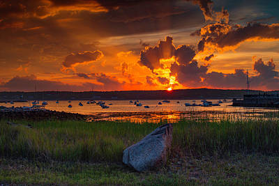 Gloucester Harbor Sunset Art Print