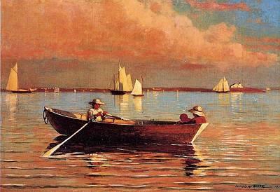 Row Boat Digital Art - Gloucester Harbor by Winslow Homer