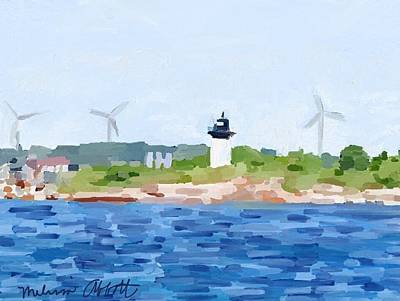 Gloucester Ma Skyline From Harbor Art Print