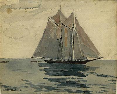 Winslow Homer Drawing - Gloucester Schooner by Winslow Homer
