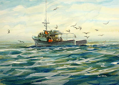 Painting - Gloucester Seagulls - Following The Catch by Carl Whitten