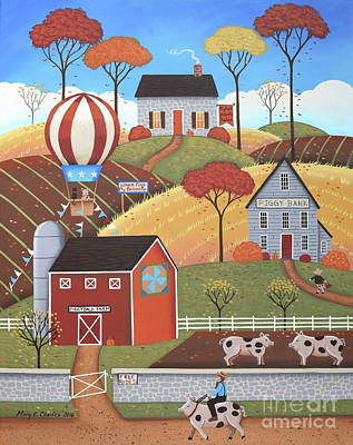 Hot Air Balloon Painting - Gloucestershire Village by Mary Charles