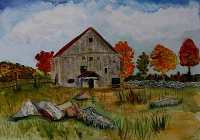 Art Print featuring the painting Glover Barn In Autumn by Donna Walsh