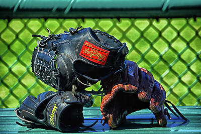 Photograph - Gloves On Dugout Bench by Mike Martin