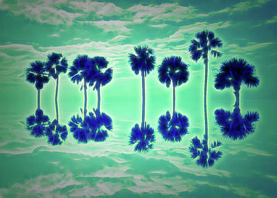 Photograph - Glow In The Dark Palm Tree Reflection by Aimee L Maher Photography and Art Visit ALMGallerydotcom