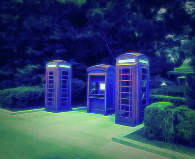Photograph - Glow In The Dark Telephone Booths by Aimee L Maher Photography and Art Visit ALMGallerydotcom