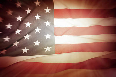 Photograph - Glowing American Flag by Les Cunliffe