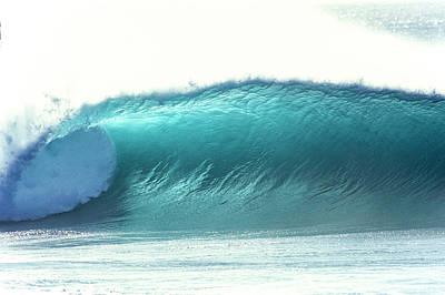 Photograph - glowing aqua wave at Pipeline, north shore, Oahu, Hawaii,2004 by Sean Davey