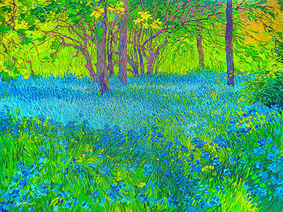 Digital Art - Glowing Bluebonnets by Judith Barath