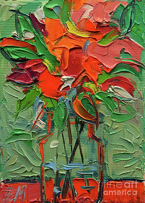 Glowing Bouquet - Abstract Miniature Palette Knife Oil Painting Original