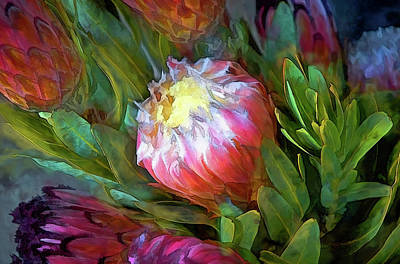 Glowing Bromeliad Bud Art Print