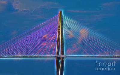 Photograph - Glowing Cables Ravenel Bridge by Patti Whitten