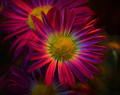 Glowing Eye Of Flower Art Print