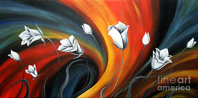 Glowing Flowers 5 Art Print by Uma Devi