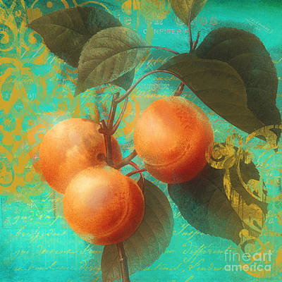 Pears Painting - Glowing Fruits Apricots by Mindy Sommers