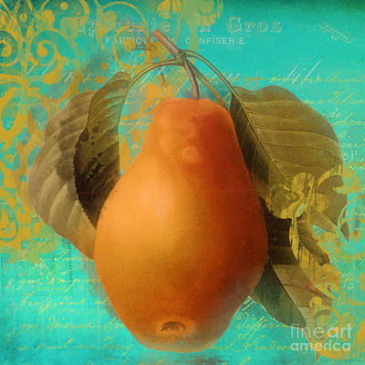 Glowing Fruits Pear Art Print
