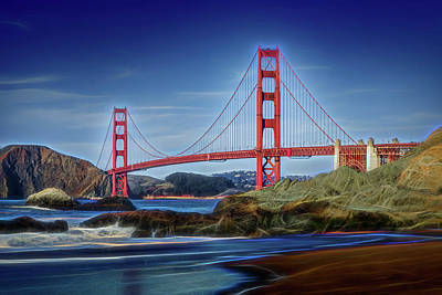 Photograph - Glowing Golden Gate From Baker Beach by Kelley King