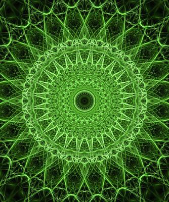 Digital Art - Glowing Green Mandala by Jaroslaw Blaminsky