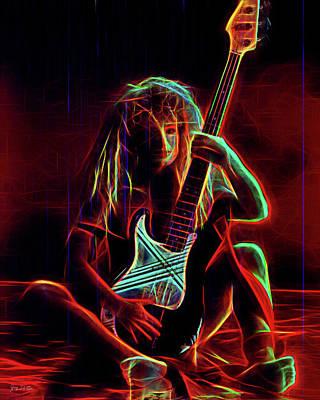 Digital Art - Glowing Guitar Girl by Gary De Capua