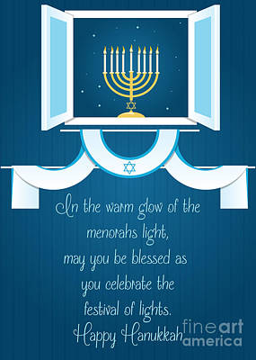 Digital Art - Glowing Hanukkah Lights by JH Designs