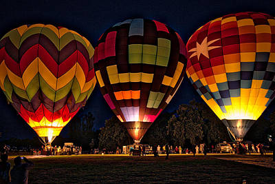 Photograph - Glowing Hot Air Ballons by Kim Wilson