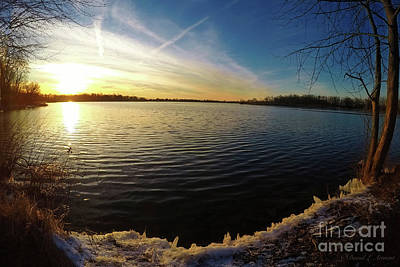 Photograph - Glowing Ice At Sunset by David Arment