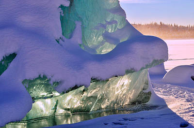 Photograph - Glowing Iceberg - Mendenhall Glacier by Cathy Mahnke