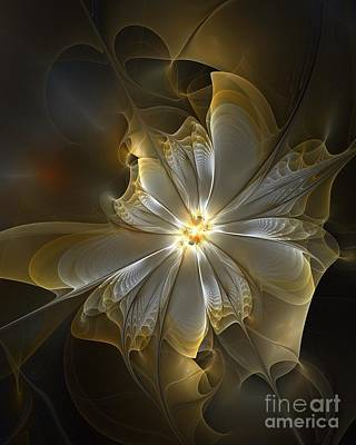 Floral Digital Art Digital Art Digital Art - Glowing In Silver And Gold by Amanda Moore