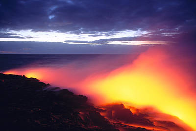 Photograph - Glowing Lava Flow by William Waterfall - Printscapes