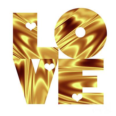 Love Digital Art - Glowing Love - Gold  by Prar Kulasekara
