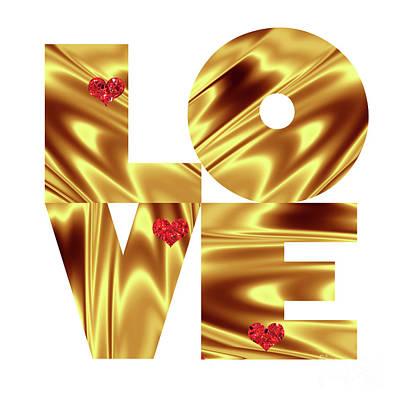 White Background Digital Art - Glowing Love - Gold Red by Prar Kulasekara
