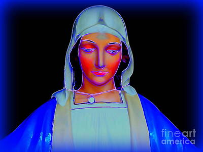 Digital Art - Glowing Madonna by Ed Weidman