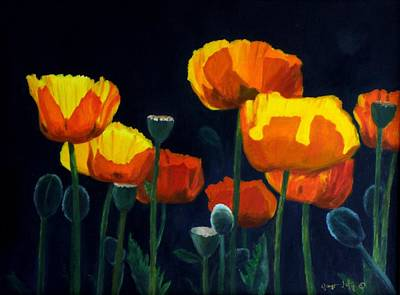 Glowing Poppies Art Print